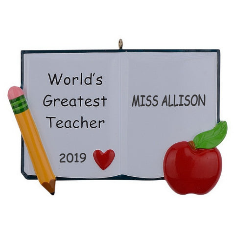 Personalized World's Greatest Teacher Christmas Ornament