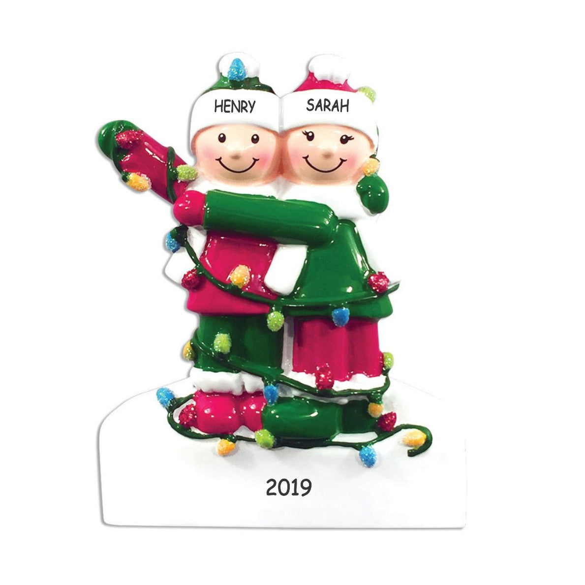 Personalized Tangled in Lights Couples Christmas Ornament