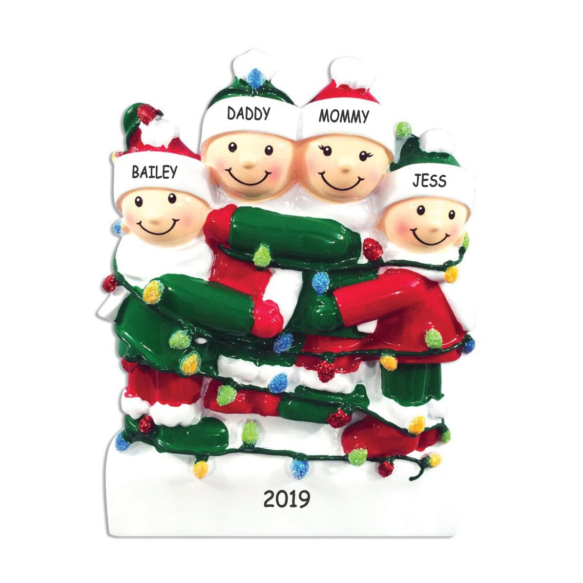 Personalized Tangled in Lights Family Christmas Ornament - Family of 4