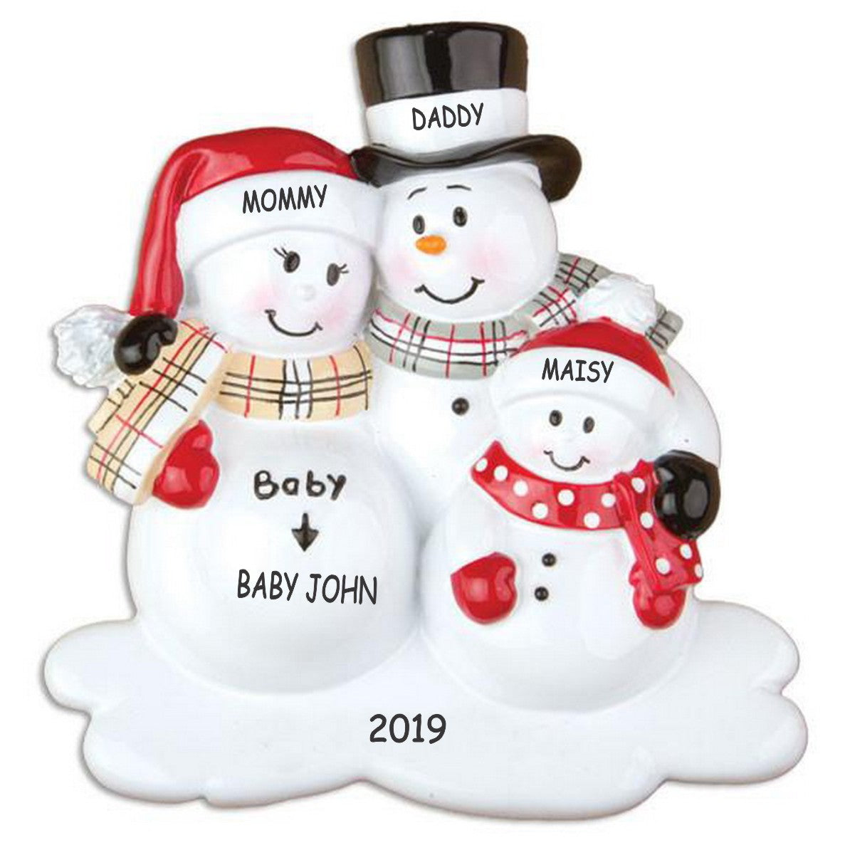 Personalized We're Expecting Snowman Family Christmas Ornament - Family of 4