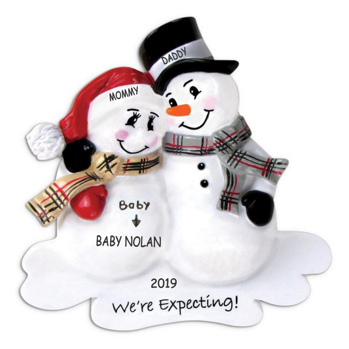Personalized We're Expecting Snowman Family Christmas Ornament - Family of 3