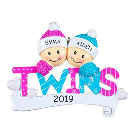 Personalized Twins Baby Christmas Ornament - BOY-GIRL