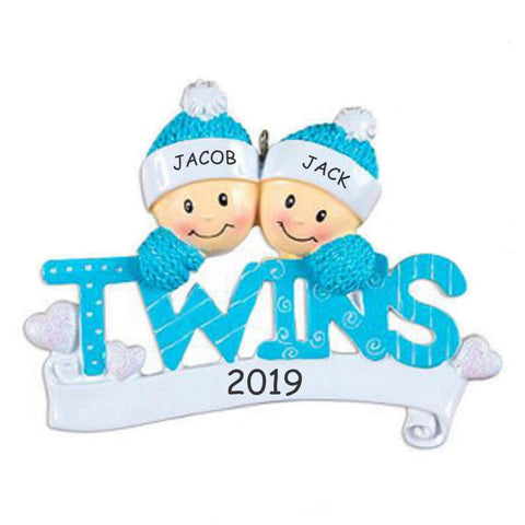 Personalized Twins Baby Christmas Ornament - BOYS