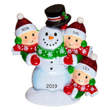 Personalized Snowman Fun Family Christmas Ornament - Family of 3