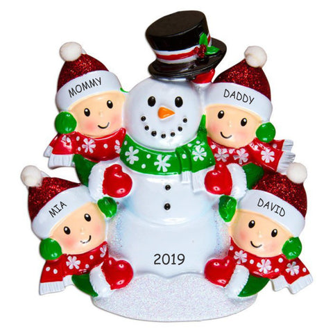 Personalized Snowman Fun Family Christmas Ornament - Family of 4