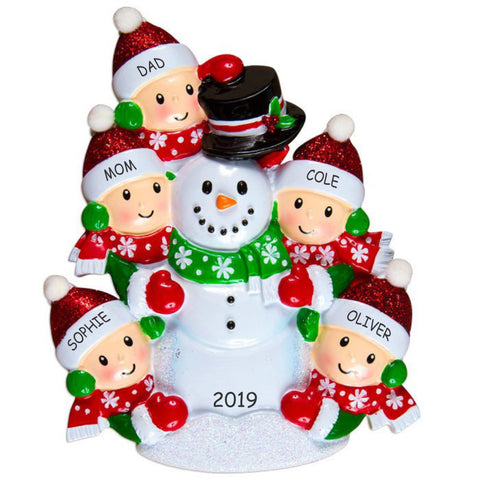 Personalized Snowman Fun Family Christmas Ornament - Family of 5