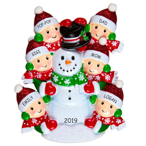 Personalized Snowman Fun Family Christmas Ornament - Family of 6