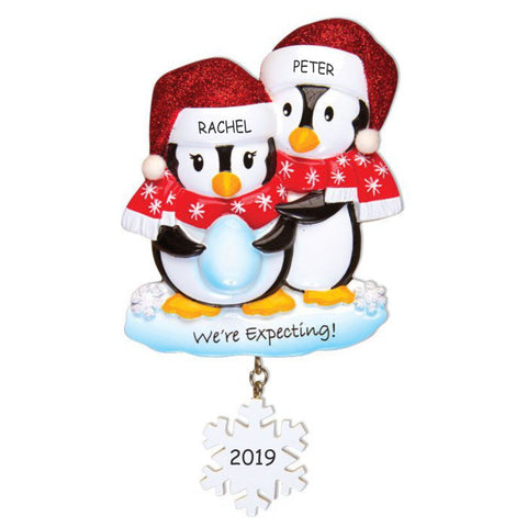Personalized We're Expecting Penguin Couples Christmas Ornament