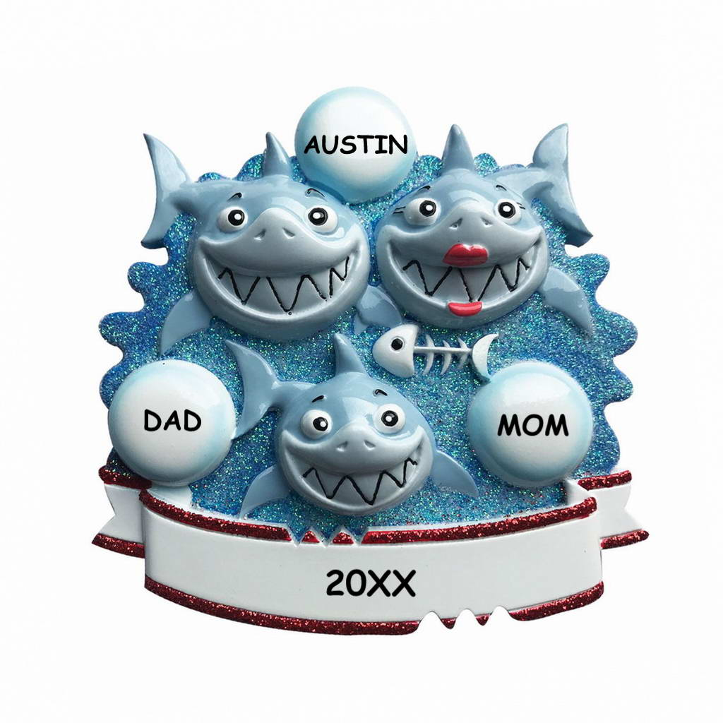 Personalized Awesome Shark Christmas Ornament - Family of 3