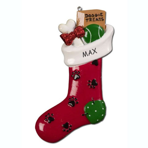 Personalized Treats Stocking Dog Christmas Ornament