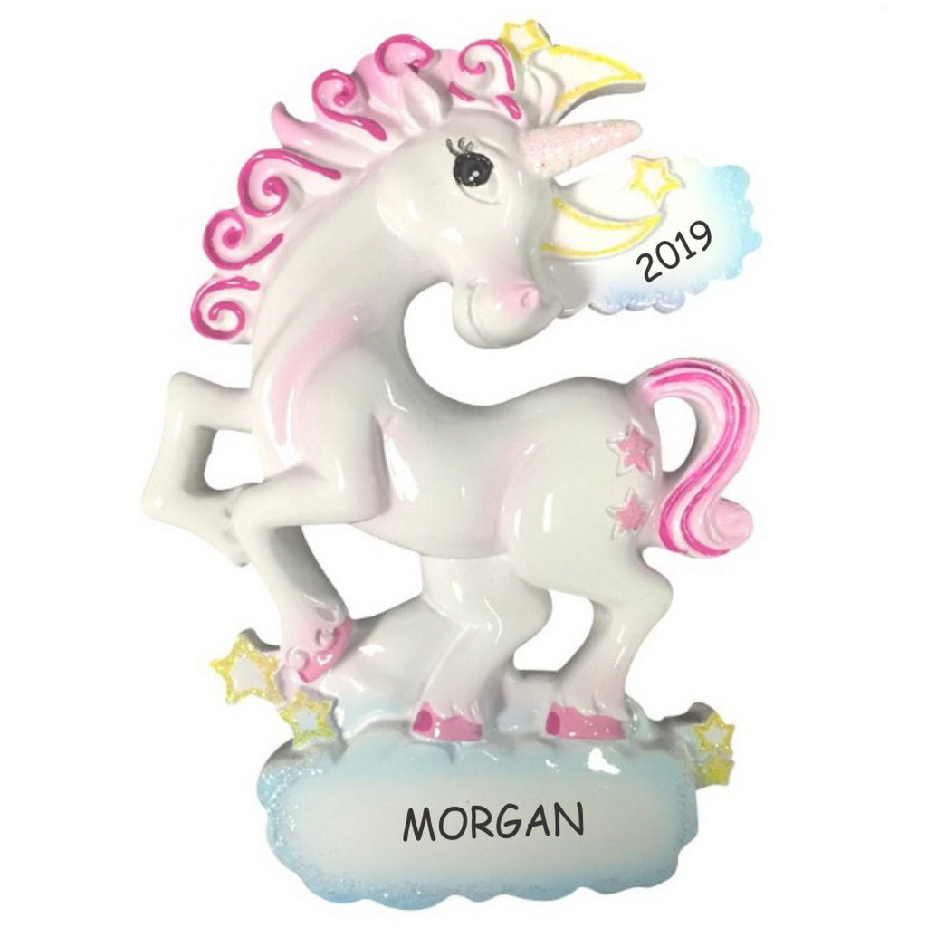 Personalized Whimsical Unicorn Kids Christmas Ornament