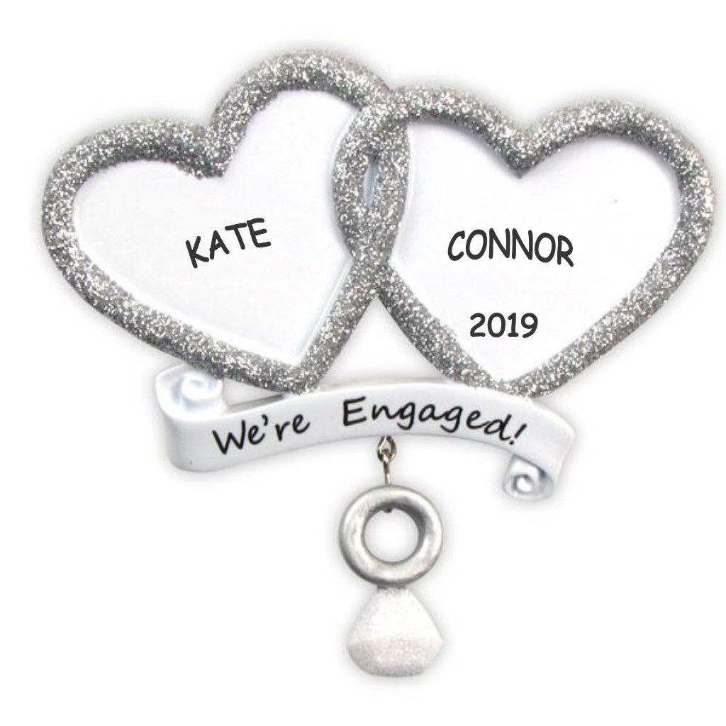 Personalized We're Engaged Couples Christmas Ornament