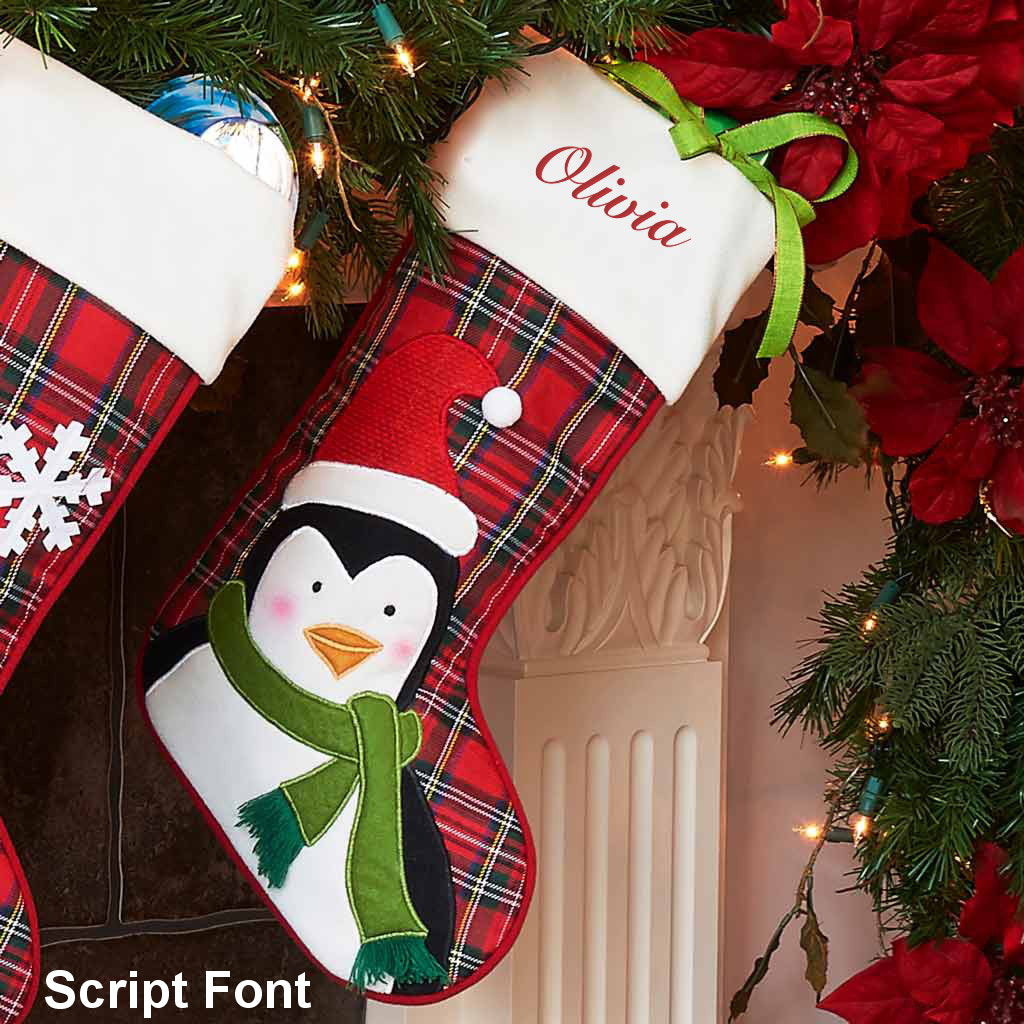 Personalized Plaid Christmas Stocking Dibsies