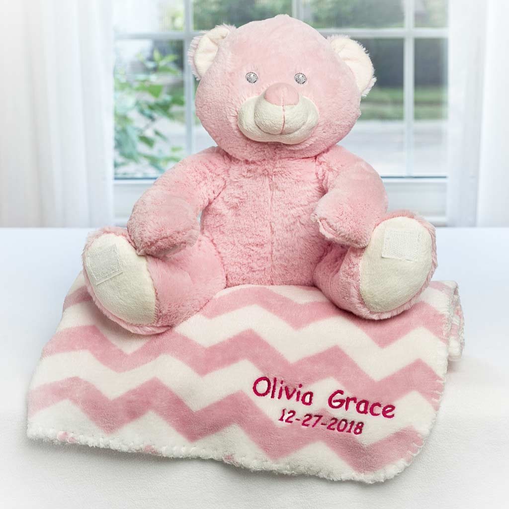 Personalized Dibsies Baby Teddy Bear & Blanket Set - Pink