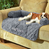"Personalized 36"" Sofa Saver Pet Bed with Bolsters - Charcoal"
