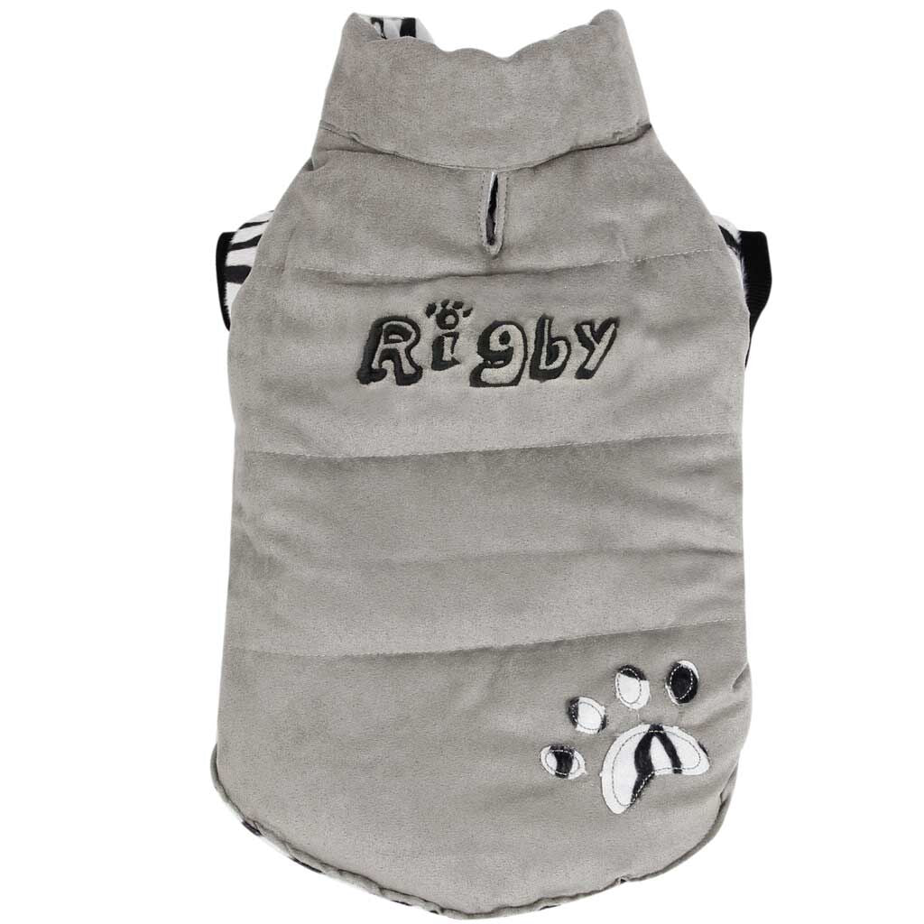 Personalized Trendy Dog Coat with Zebra Design Lining - Gray