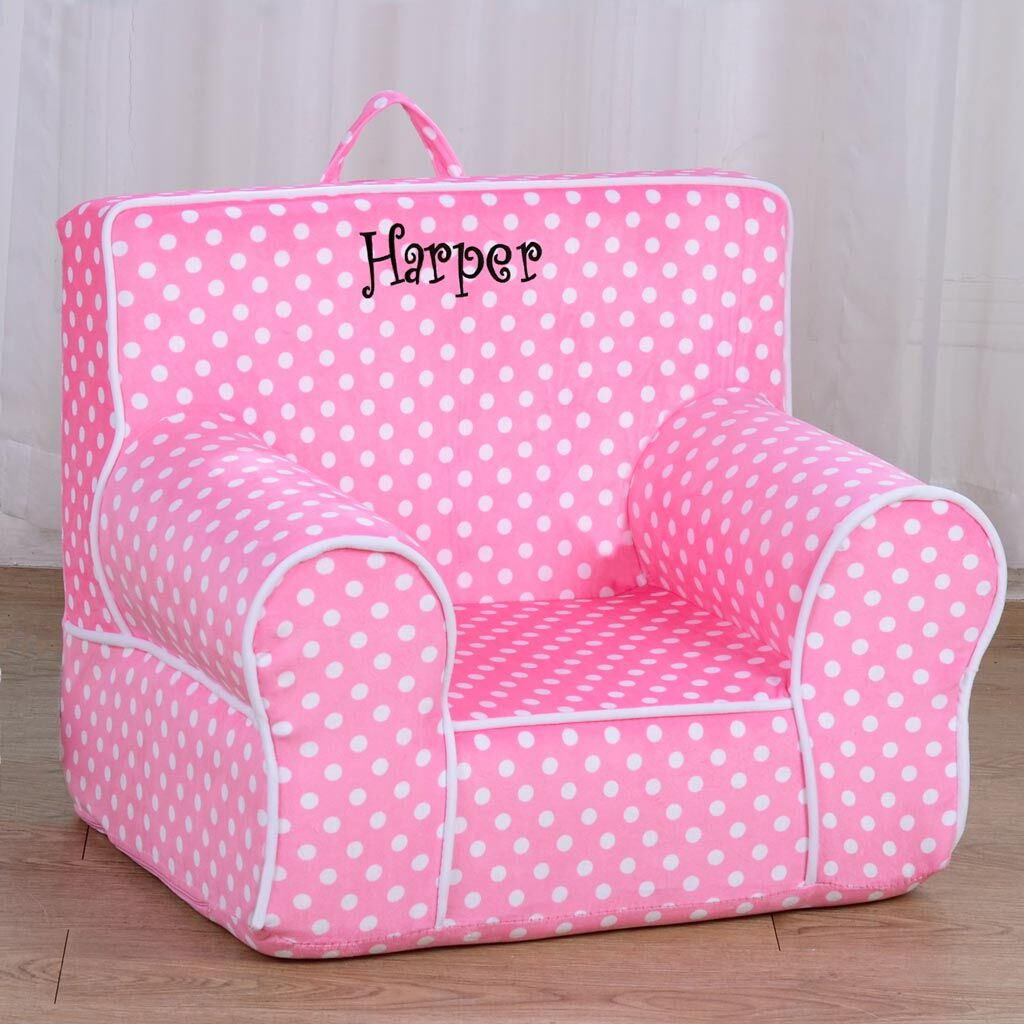 Personalized My Anytime Chair for Toddlers - Ages 1.5 to 4 Years Old - Pink Polka Dots