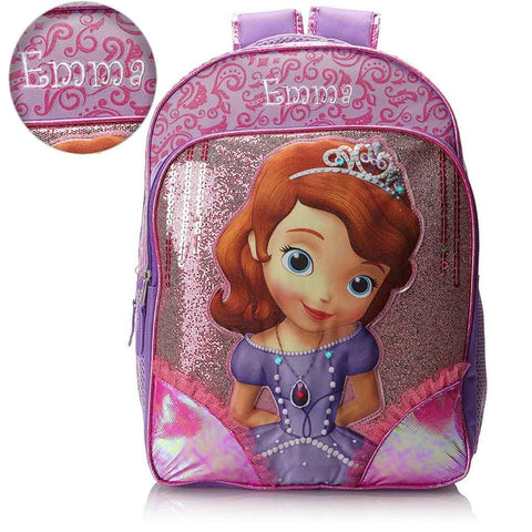 Personalized Disney Sofia the First 16 Inch Backpack with Super Lights