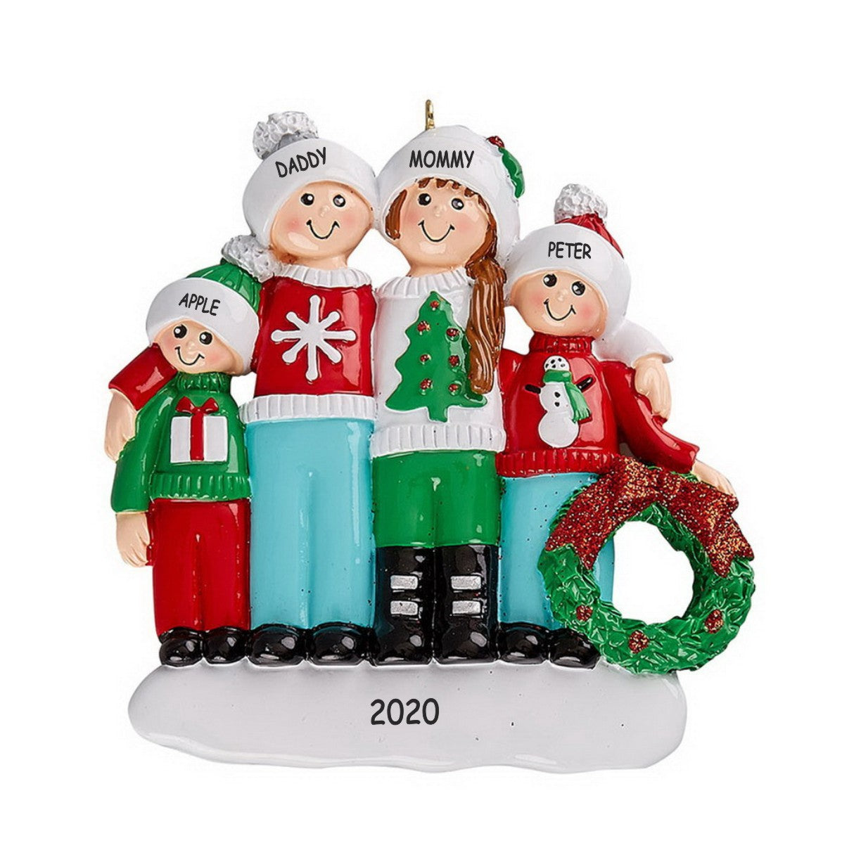 Personalized Ugly Sweater Family Christmas Ornament - Family of 4