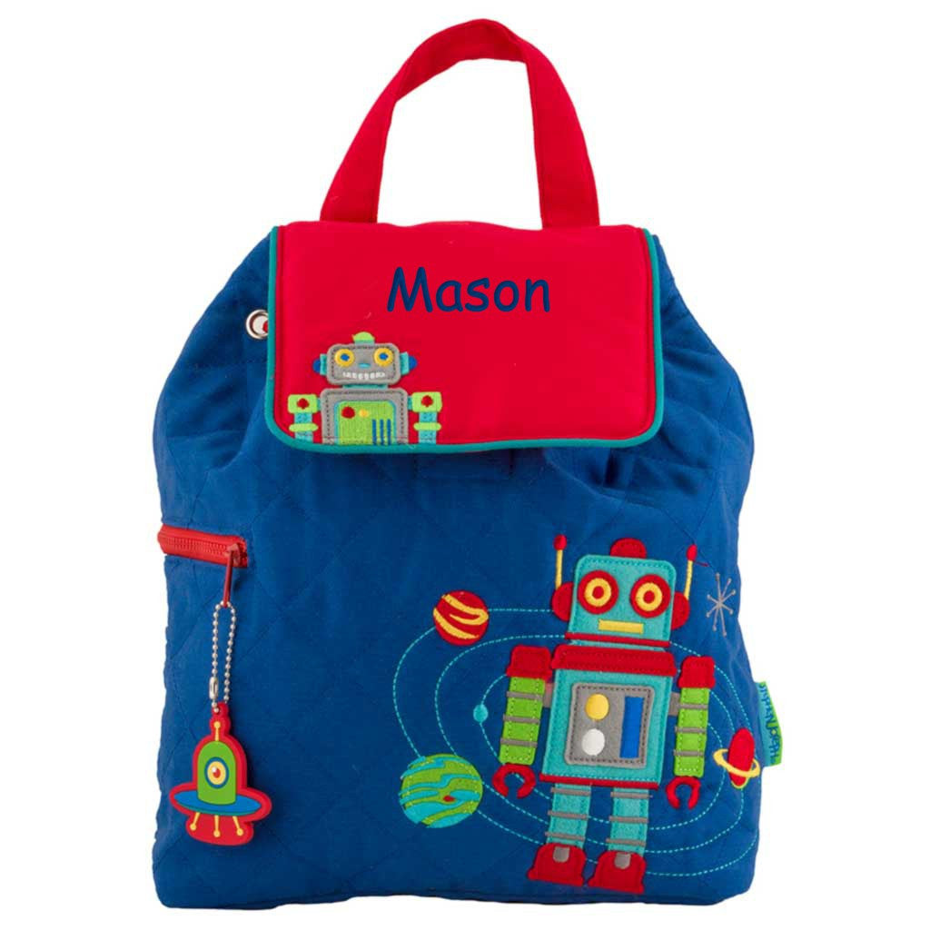 Personalized Space Robots Quilted Backpack
