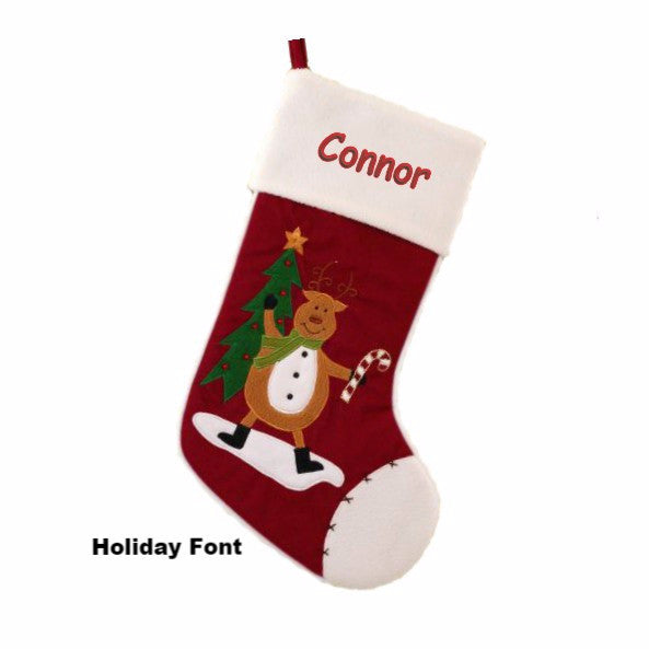 Personalized Reindeer and Candy Cane Christmas Stocking