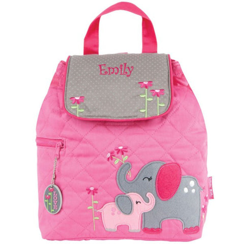Personalized Pink Elephant Quilted Backpack