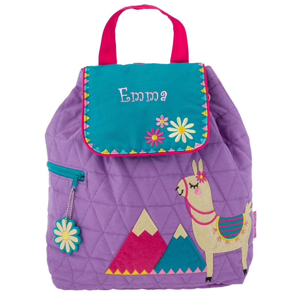 Personalized Embroidered Llama Quilted Backpack