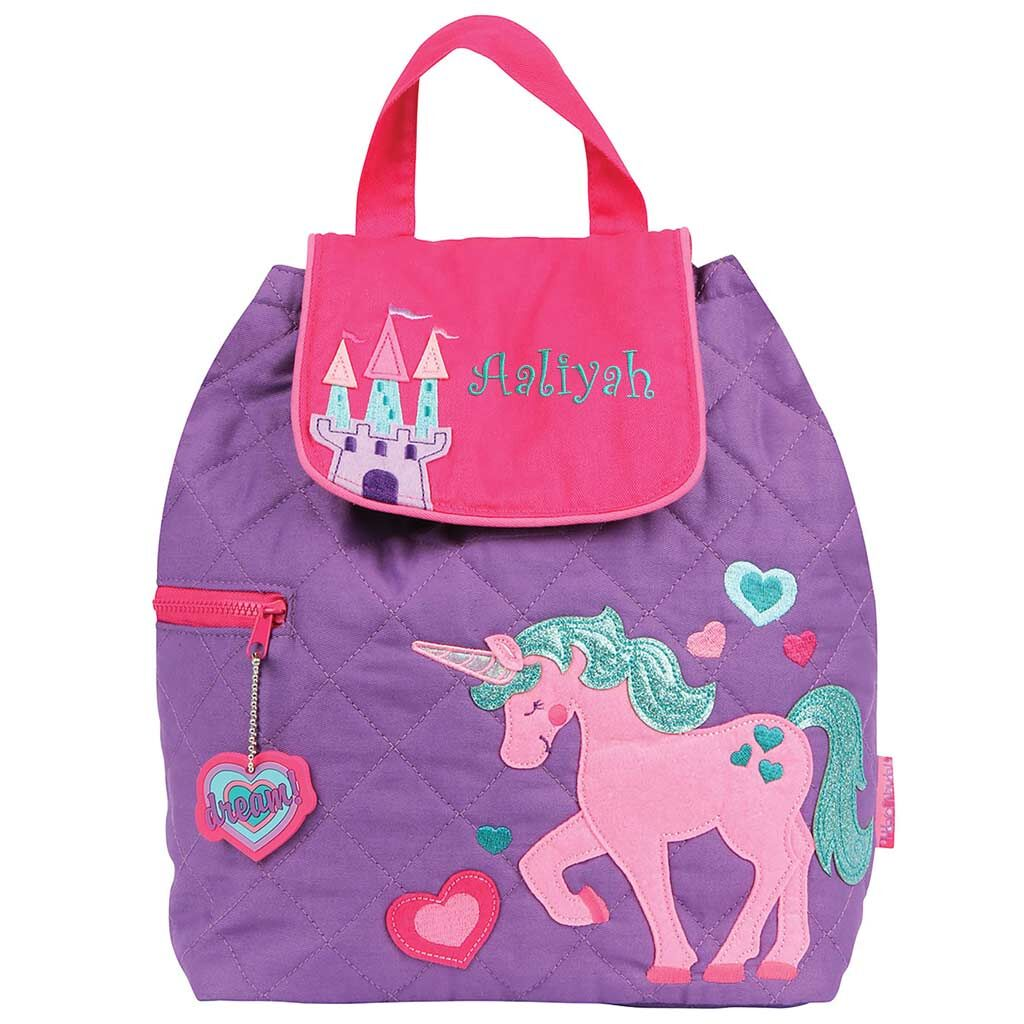 Personalized Embroidered Unicorn Quilted Backpack