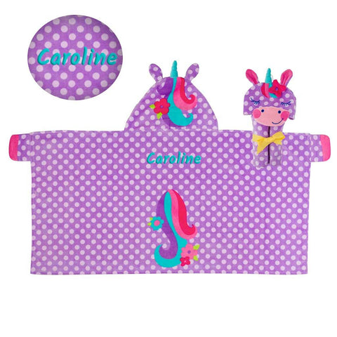 Personalized Hooded Beach & Bath Towel - Unicorn
