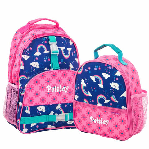 Personalized  Rainbows & Flowers Trendsetter Backpack & Lunchbox Combo