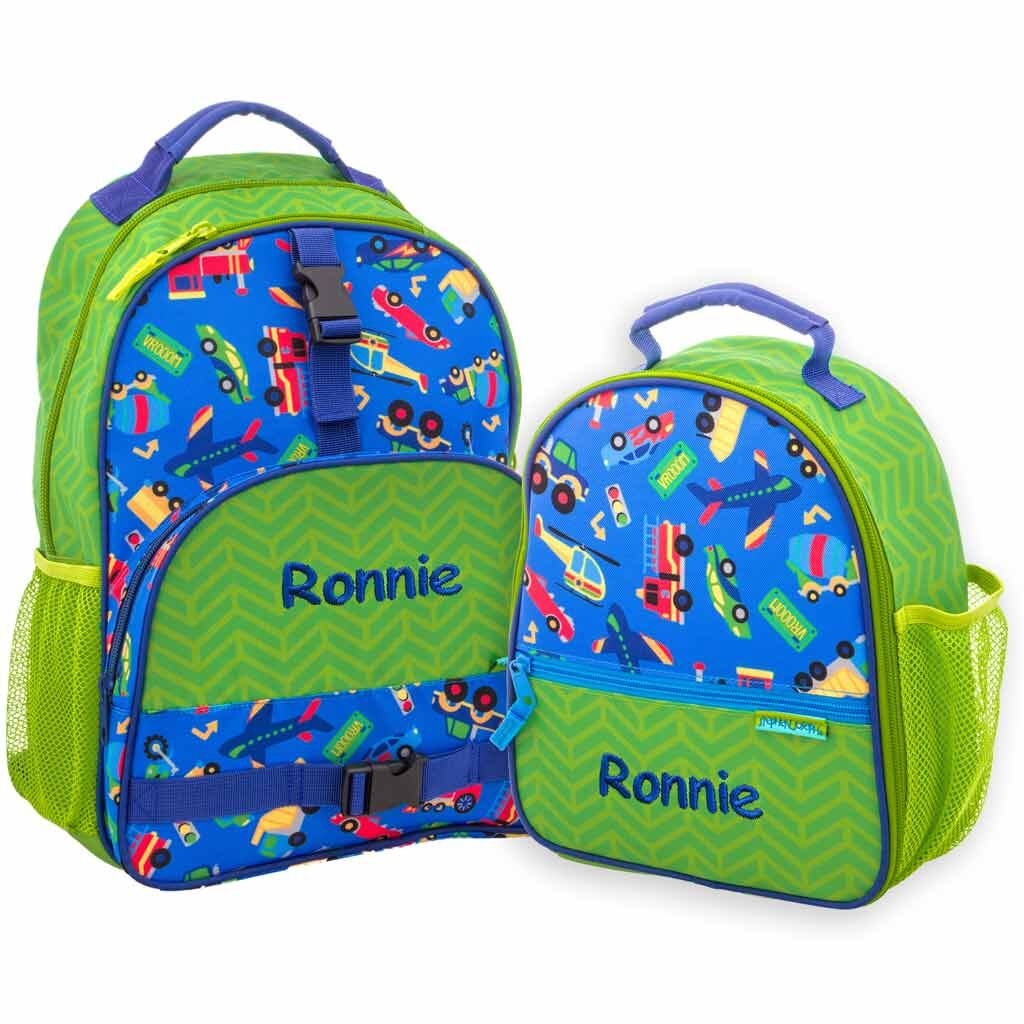 Personalized Cars, Trucks, Planes, & Trains Trendsetter Backpack & Lunchbox Combo
