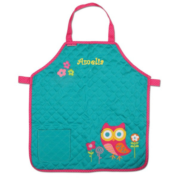 Personalized Teal Owl Quilted Kids Apron