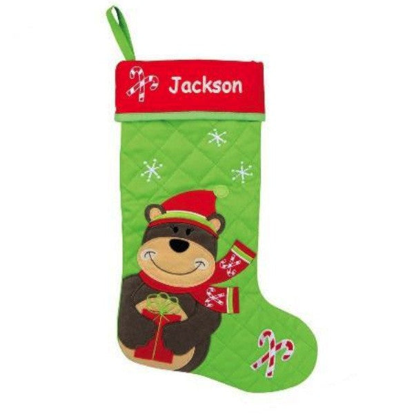 Personalized Bear Quilted Christmas Stocking