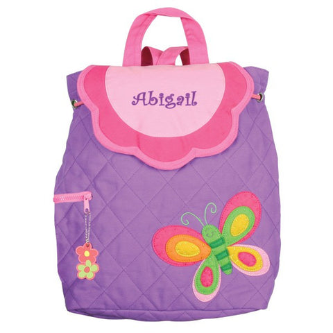 Personalized Purple Butterfly Embroidered Backpack