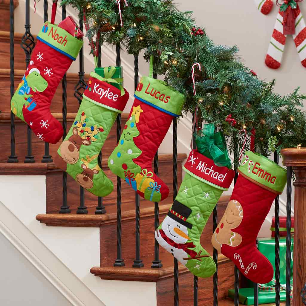 Christmas Stocking Personalized.Personalized Quilted Christmas Stocking Dibsies Personalization Station