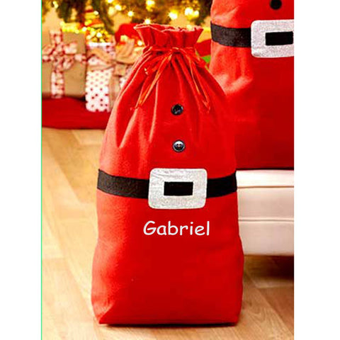 Personalized Embroidered Name Santa Sack