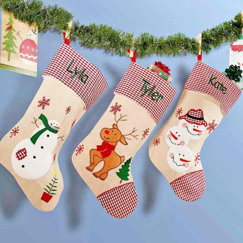 Personalized Festive Plaid Burlap Christmas Stocking