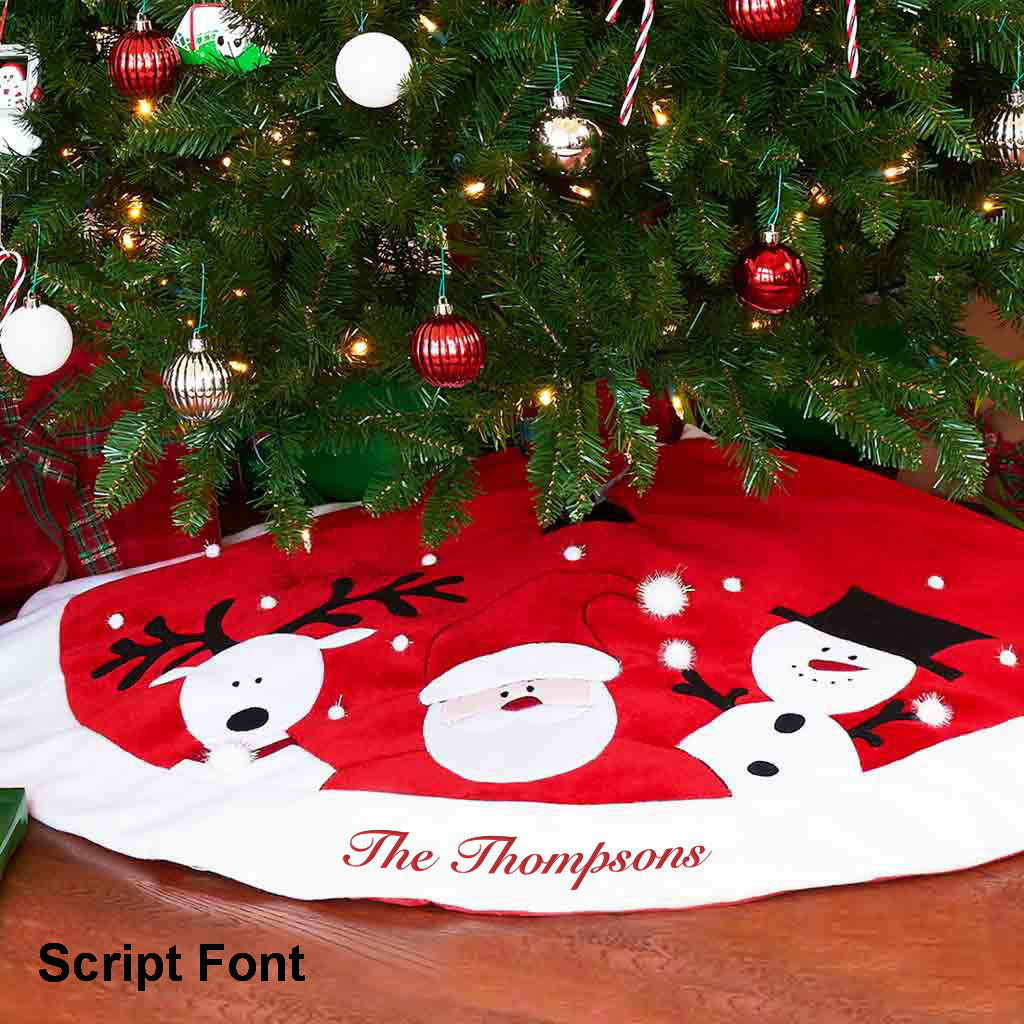 Personalized Santa, Reindeer, Snowman Tree Skirt - 60""