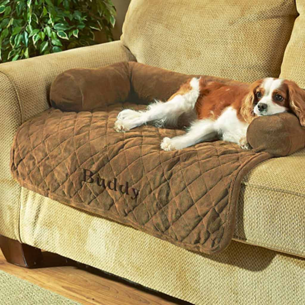"Personalized 36"" Sofa Saver Pet Bed with Bolsters - Tan"