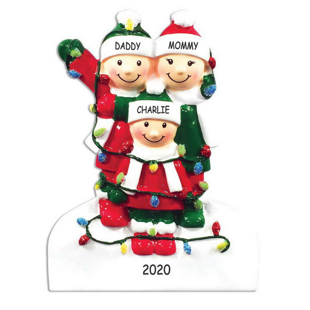 Personalized Tangled in Lights Family Christmas Ornament - Family of 3