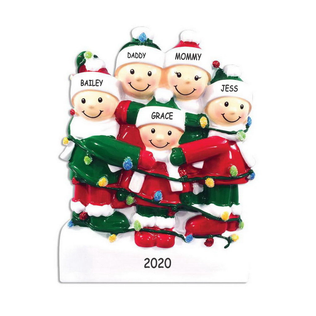 Personalized Tangled in Lights Family Christmas Ornament - Family of 5