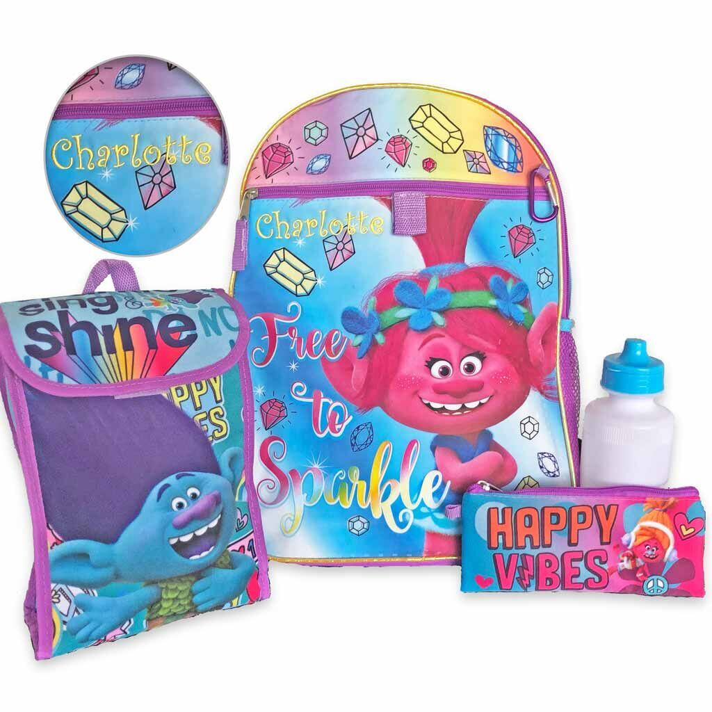 "Personalized 16"" Trolls Backpack with Bonus Lunch Bag, Water Bottle, Pencil Case, and Carabiner Clip"