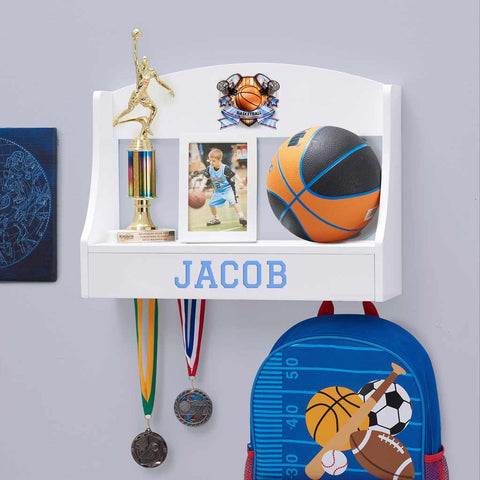 Personalized Trophy Shelf and Medal Holder - Basketball