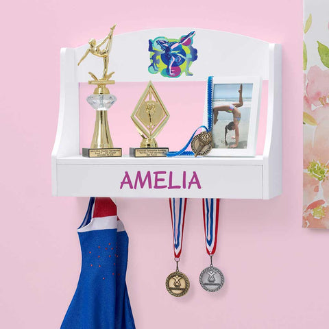 Personalized Trophy Shelf and Medal Holder - Gymnastics