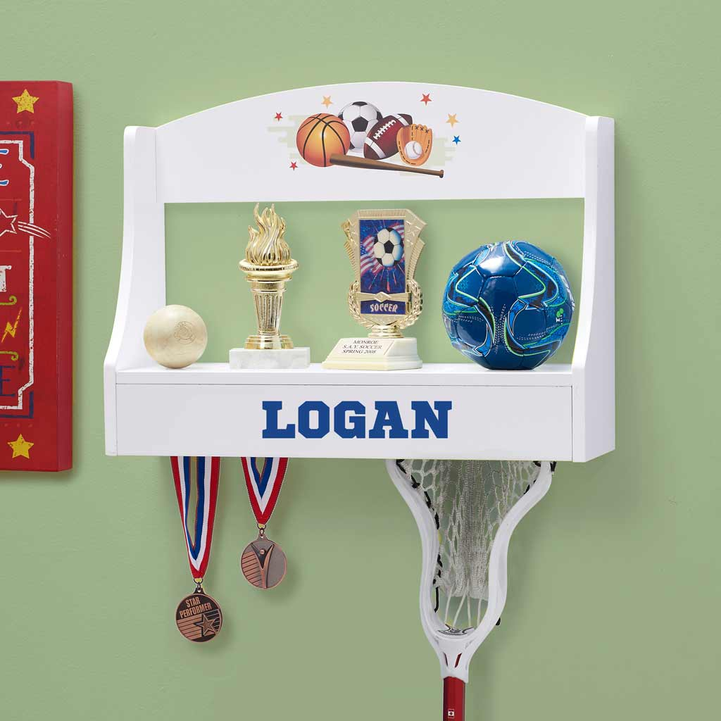 Personalized Trophy Shelf and Medal Holder - Multi Sports