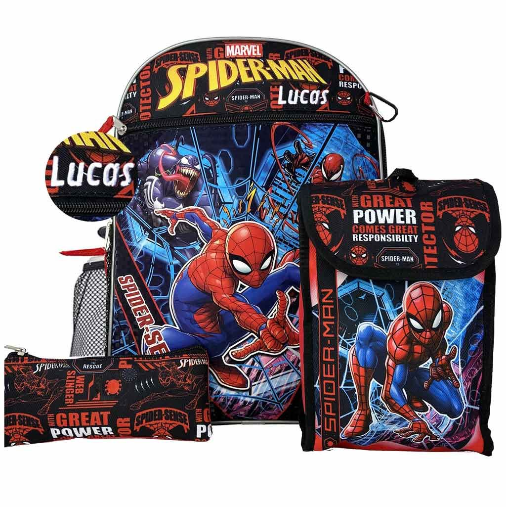"Personalized 16"" Spider Man Backpack with Bonus Lunch Bag, Pencil Case, Water Bottle,and Carabiner Clip"