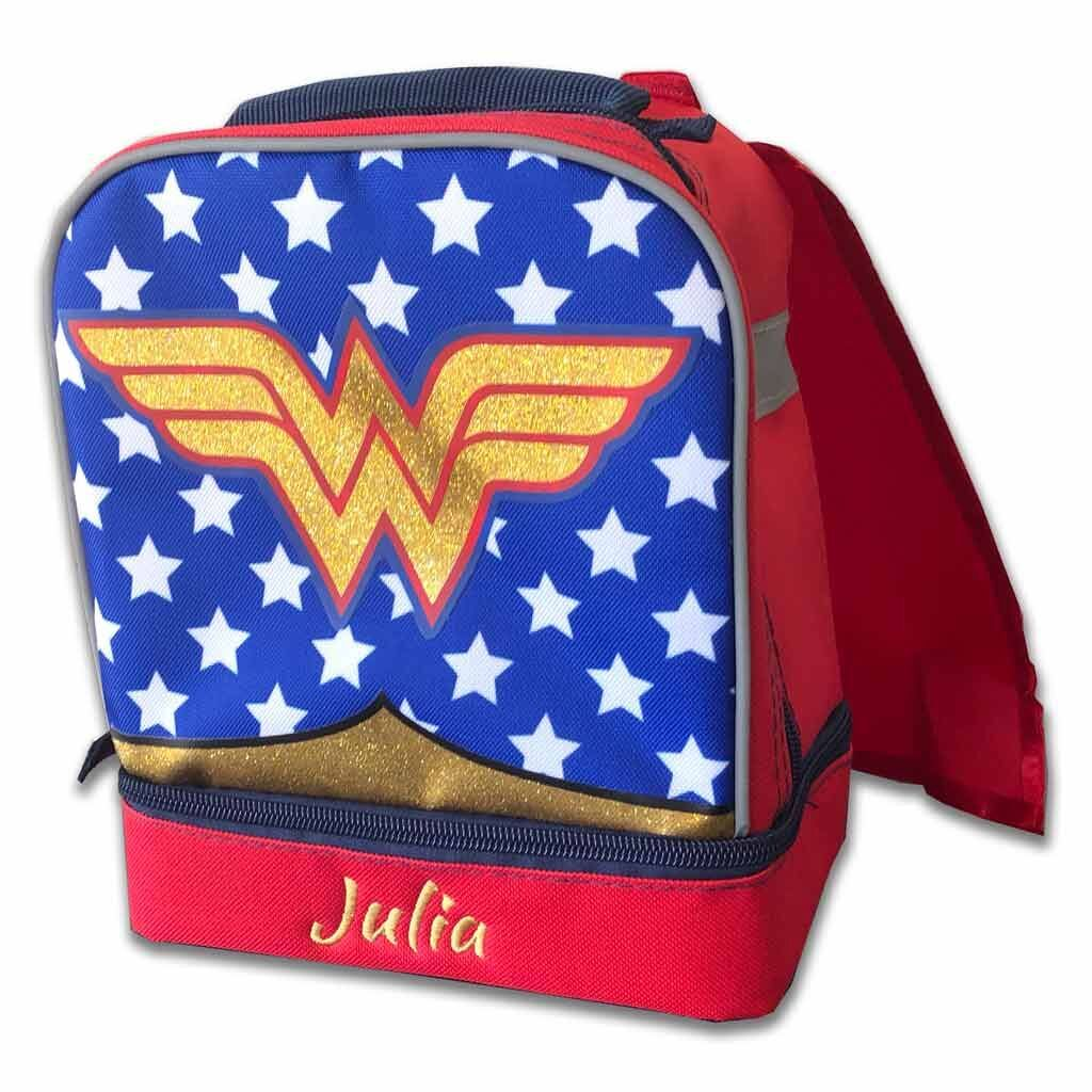 Personalized Wonder Woman Lunch Box with Removable Cape