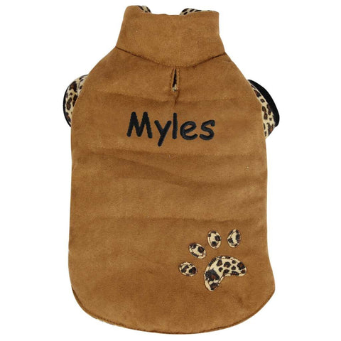 Personalized Trendy Dog Coat with Leopard Design Lining - Tan