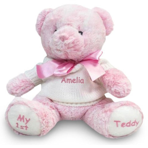 Personalized Baby Gift - My 1st Teddy Bear - Pink, 12 Inch