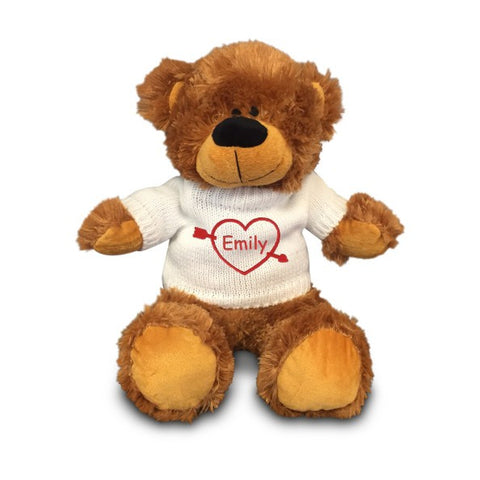 Personalized Valentine's Heartstruck Snuggle Teddy Bear - Brown, 12 inch